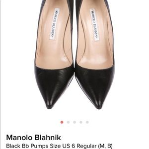 Manolo Blahnik Black Leather Pumps size 6